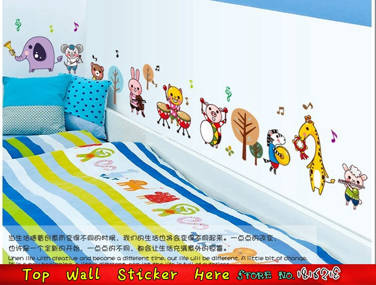 Cartoon happy animal zoo wall stickers kids birthday gifts music band wall decals for kids room decoration diy home sticker in wall stickers from home