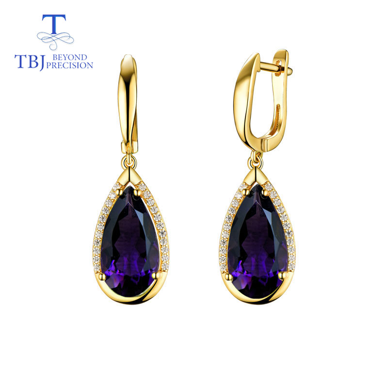 TBJ,Natural Africa amethyst gemstone pear 8*16mm clasp Earring 925 Sterling Silver Fine Jewelry For party best valentine box image