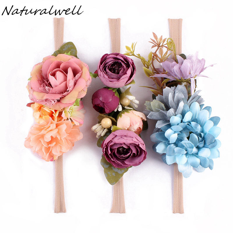 Naturalwell 3 Pcs/Set Girls Flower Headband Nylon Faux Flower Party Flowers Hair Bands Newborn Headwear Photo Props HB221D 3 pieces set princess girls flowers headband with nylon elastic band photography props for newborn hair accessories hair bands