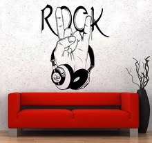 Muziek muurstickers populaire muur del vinile muziek hoofdtelefoons rock logo poster art design casa decoratie 2YY3