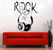 Muziek muurstickers populaire muur 비닐 muziek hoofdtelefoons 락 로고 포스터 홈 아트 디자인 decoratie 2yy3