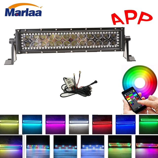 "13.5"" 72w RGB Halo Ring LED Light Bar Combo Bar Work Light for Offroad 4x4 Jeep Truck ATV SUV Boat with Bluetooth APP Control"
