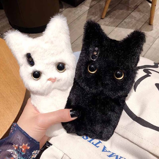 Totviss Case Cute white 3D cat Plush fur phone Case For iphone X XR XS XS Max 6 6S 7 8 Plus Winter Warm fur Soft TPU Back Cover