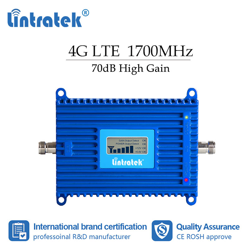Lintratke AWS 4g Signal Booster Cellular Mobile Phone Communication Amplifier LCD  3g 1700mhz Internet Repeater High Gain Dj