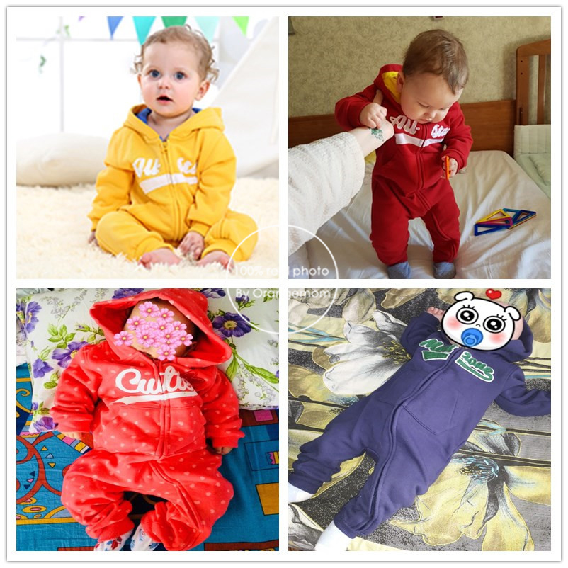 2019 new baby autumn warm clothes 6M-24M boys tracksuit newborn baby long sleeved rompers girls hooded cotton winter jumpsuit