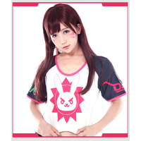 New Game OW D Va Cosplay Costume Hana Song POP Magazine Cover Short Style Round Collar