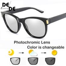 Brand Design Photochromic Polarized Sunglasses Men Women Chameleon Discoloration Sun Glasses Square Driving
