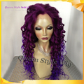 Customer shared picture show product display wig, Top quality purple blue ombre synthetic lace front wigs