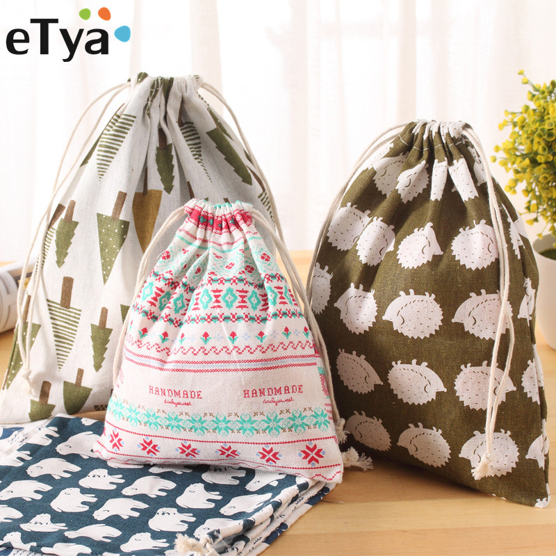 ETya Women Reusable Shopping Bag Printing Unisex Foldable Cotton Drawstring Grocery Shopping Bags Hot Sale Case Pouch