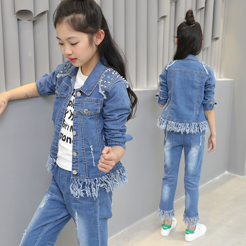 Children clothes girls suit spring kid denim sets Jacket+Jeans pants 2pcs/set child casual outerwear coat autumn girl's clothing 2017 spring new women sweet floral embroidery pastoralism denim jeans pockets ankle length pants ladies casual trouse top118