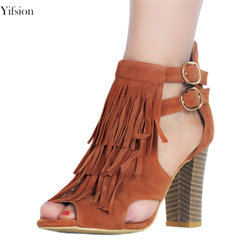 Olomm New Women Gladiator Sandals Sexy Fringe Square High Heel Shoes Peep Toe Nice Camel Party Shoes Women US Plus Size 5-15