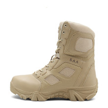 купить Men Snow Boots Military Leather Boots Special Force Tactical Desert Combat Men's Boots Outdoor Shoes High-top Desert Shoes Flats онлайн