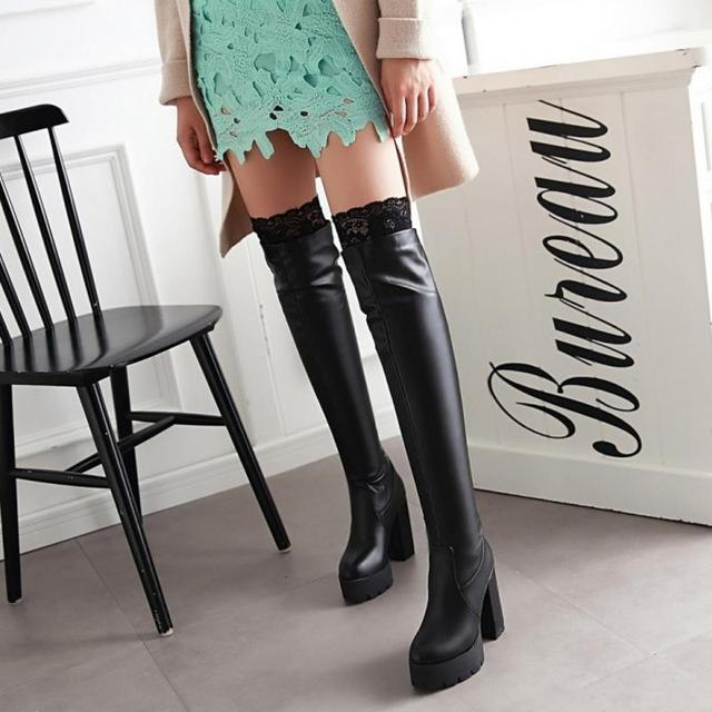 New Women Sexy Fashion Lace Over The Knee Boot Thick High Heel Long Boots Platform Woman Heels  Shoes Footwear Size 34-43