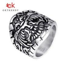 лучшая цена Oktrendy men vintage biker skull ring men stainless steel skeleton rings for man punk street rock jewelry gift animal design