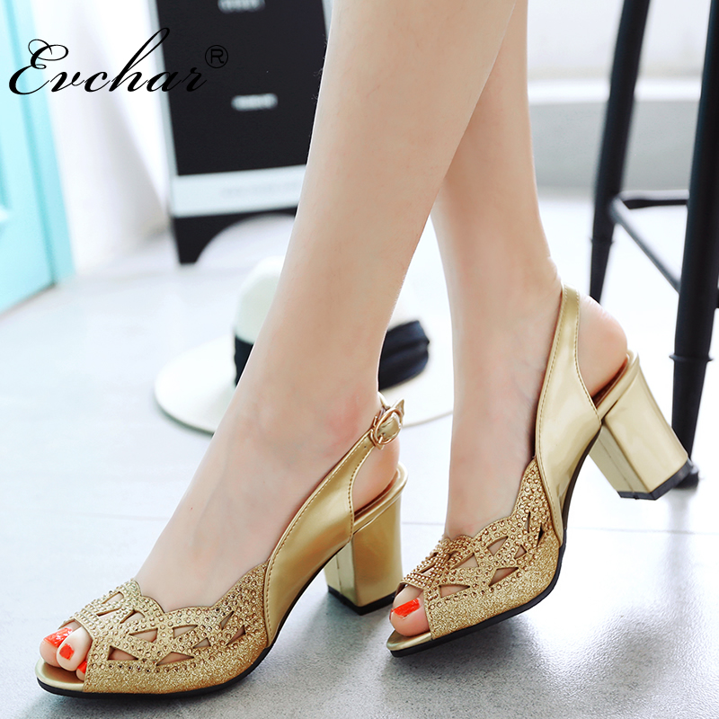 EVCHAR NEw High Heels gladiator buckle strap peep toe Women Sandals sexy Crystal Big Women party Summer Shoes Plus Size 34-48 brand new women platform sandals t strap rivets high heels wedding shoes woman peep toe gladiator women luxury big size shoes