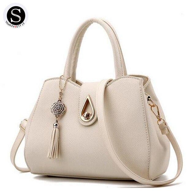 Senkey Style Leather Shoulder Bags For Women 2017 Tassel Big Fashion Luxury Women Messenger Bags Designer Handbags High Quality
