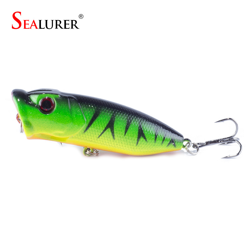 Fishing Topwater Floating Popper Poper Lure Hooks Crank Baits Tackle Tool  6.5cm 11g