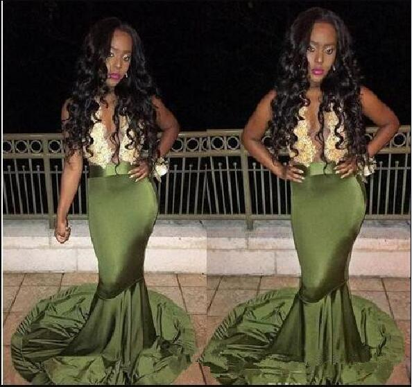 1e32fa7a3a Olive Green African Prom evening gown 2018 Gold Lace Appliques long Mermaid  Formal Party gown Mother of the Bride Dresses-in Mother of the Bride Dresses  ...