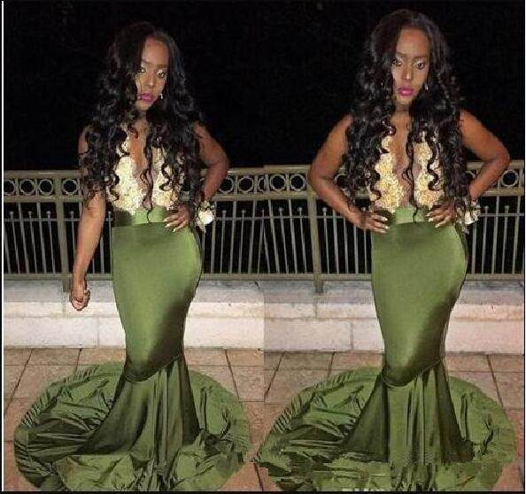 Online Shop Olive Green African Prom Evening Gown 2018 Gold Lace