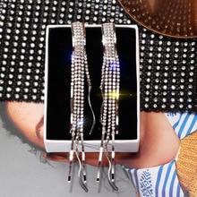 Women luxury full crystal tassel earrings (2 colors)