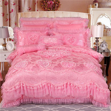 IvaRose New Silk Cotton satin Luxury Jacquard Lace Bedding Set romantic wedding Duvet cover BedSpread set Queen King 4/6/9pcs