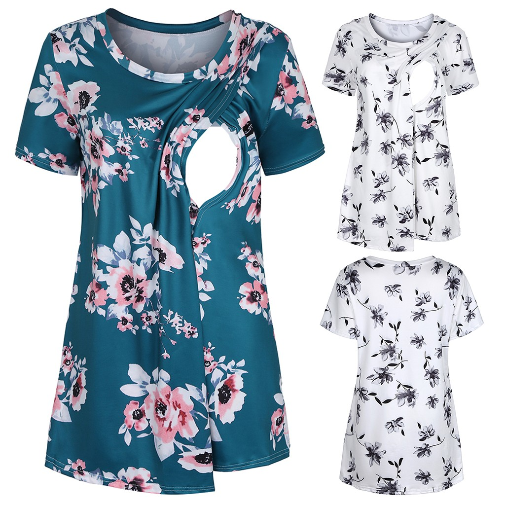 Women Pregnant Maternity Clothes Floral Print Nursing Top Baby Pregnancy Shirt Tops Breastfeeding Clothes Ropa Embarazada