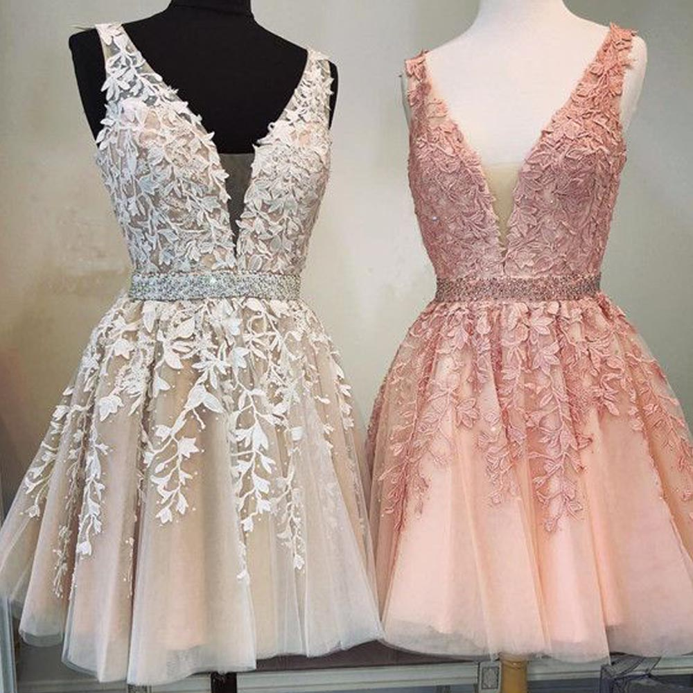 Hot Sale 2019 Robe Cocktail Sexy V Neck Lace Applique Crystal Pearl Beaded A Line Shiny Short Elegant Cocktail Dresses
