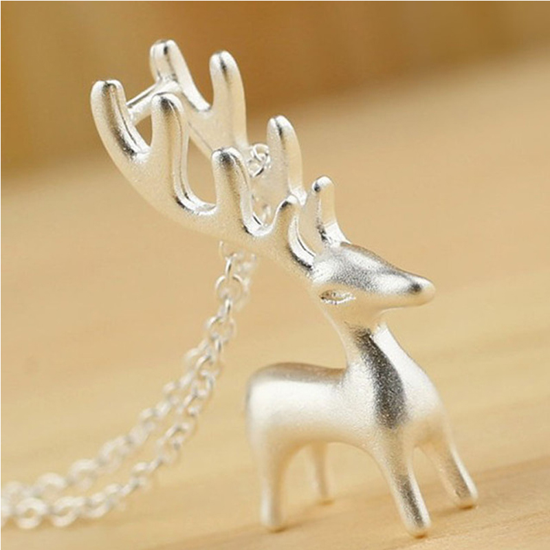 Popular Cute Elk Animals 925 Sterling Silver 3D Deer Pendant Necklace For Women Girls Simple Trendy Choker Accessories