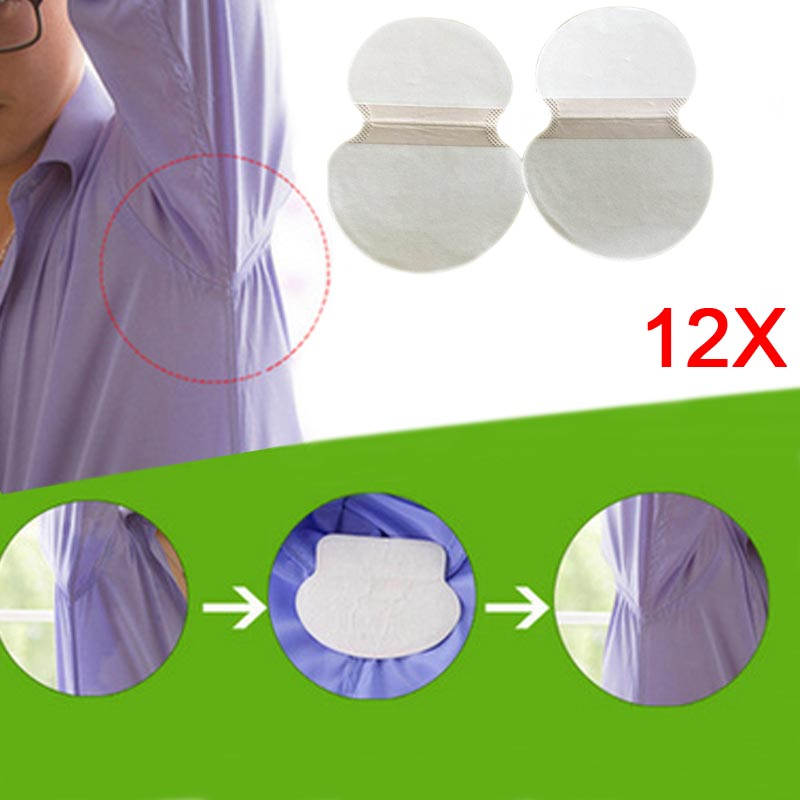 12 Pairs Disposable Underarm Sweat Pads Guard Armpit Sheet Liner Antiperspirant Tape Stickers Deodorant Pad Dress Shield HB88