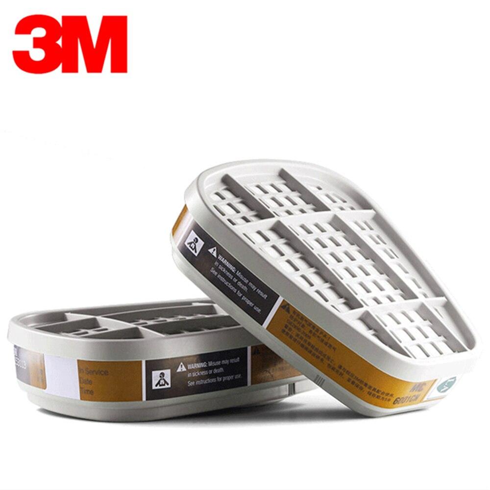 Genuine 3M6001 Gas Mask Cartridges Chemical Anti Organic Vapor Cartridge Respiratory Paint Benzene Ether Alcohol Protection Mask