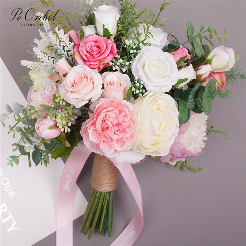 PEORCHID 2019 Pink Bride Bouquet For Wedding Rose Simulation Bridal Hand Holding Flower For Bridesmaid Bouquet Bride's DIY Decor