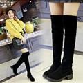 Sexy preto de borracha botas de inverno Nubuck couro sobre o joelho plus size 5-9 mulheres de boa qualidade baratos sapatos