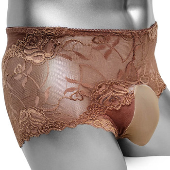 Sissy Boxers Panties With Bulge Pouch Floral Lace Sissy Mens Pouch Panties Underwear Sexy Lingerie Boxer Shorts Underpants Gay men s underwear new fashion mens boxers underpants sexy men shorts underwear lace floral boxer shorts male panties lingerie
