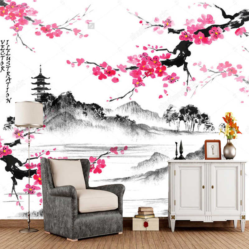 Japanese landscape wallpaper,Landscape with sakura branches,retro mural for living room bedroom sofa background wall paper