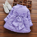 hot sale 3 colors baby girl clothing fashion solid colors bowknot long sleeve princess dress for autumn and winter