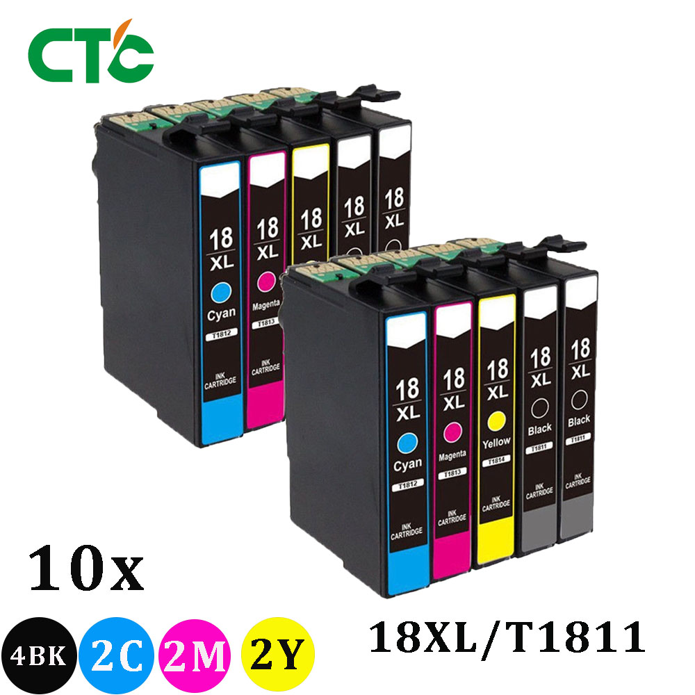 10 Pack 18XL T1811 T1816 Ink Cartridge Compatible For Epson XP205 XP305 XP322 XP315 XP212 XP402 XP30 XP225 XP325 XP422