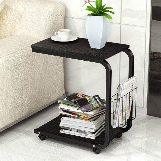 Чайный столик боковой конец стол для офисный кофейный столик полка для журнала маленький стол подвижный гостиная спальня мебель