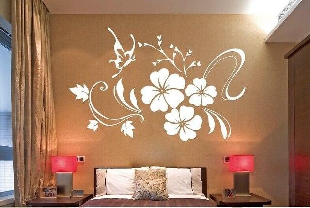 Fleur et papillon miroir stickers muraux pour la maison art