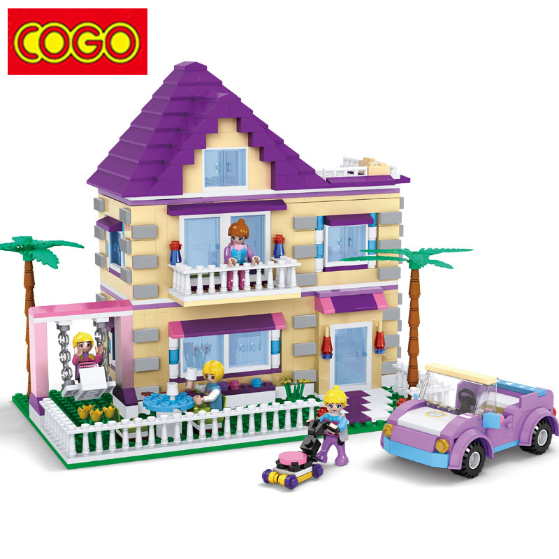 COGO Girl Series Building Blocks Princess Villa Model Building Block Educational Blocks DIY Bricks Playmobil Toys For Children
