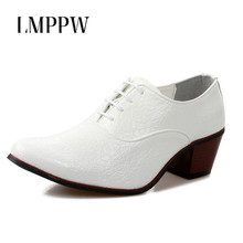 цена на Luxury Brand Men Dress Wedding Shoes 6cm High Heels Men Fashion Leather Party Prom Shoes Business Casual Man Shoes white 2A