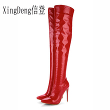 Xing Ladies Pary High Heels 33-48 Size Riding Boots Shiny Pu Leather Shoes Autumn Winter Women Zip Long  Motorcycle Boot Shoes