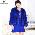 HONGZUO 2016 New Winter Women Thick Warm Blue Fur Coat Female Faux Fox Fur Short Coat Slim Overcoat Fur Black Jacket Parka PC121