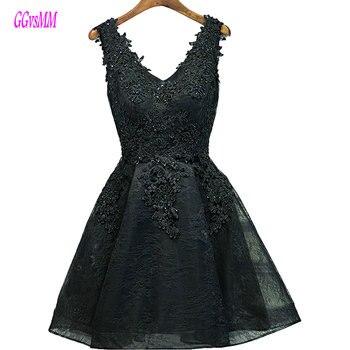 e53063f2013ea Seksi Siyah balo kıyafetleri Kısa 2019 Bordo Balo Elbise V Yaka Aplikler  Boncuk Lace Up Ucuz Kadınlar Kokteyl Parti Kıyafeti Rahat