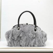 2016 Hot Sale Shoulder Bag New Fashion Woman Crossbody Bag Famous Brand Rabbit Fur Handbag Frame Vintage Style Evening Bag