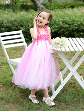 Elegant Ball Gown tulle Pink kids girls dresses with flower appliques little girls wedding party Dresses