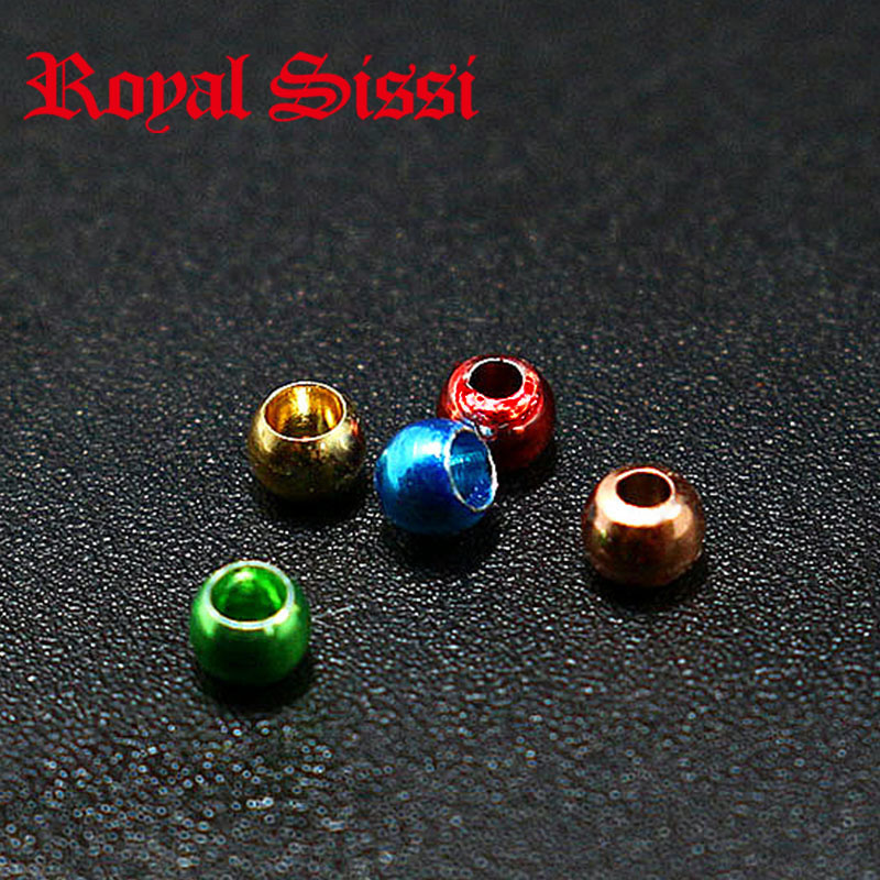 Hot 5colors/set 2.5mm fly tying brass beads brass &copper material colorful head bead for fly fishing flies pupa bugs nymph head hot sale beads