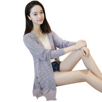 2017 New Fashion Spring Autumn Women Sweater Long Cardigan Long Sleeve Loose Hollow Thin Knitted Cardigan