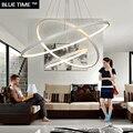 Modern pendant lights for dinning room livingroom led kitchen lights circle rings luminaire white lampara de techo 1/2/3/4 ring