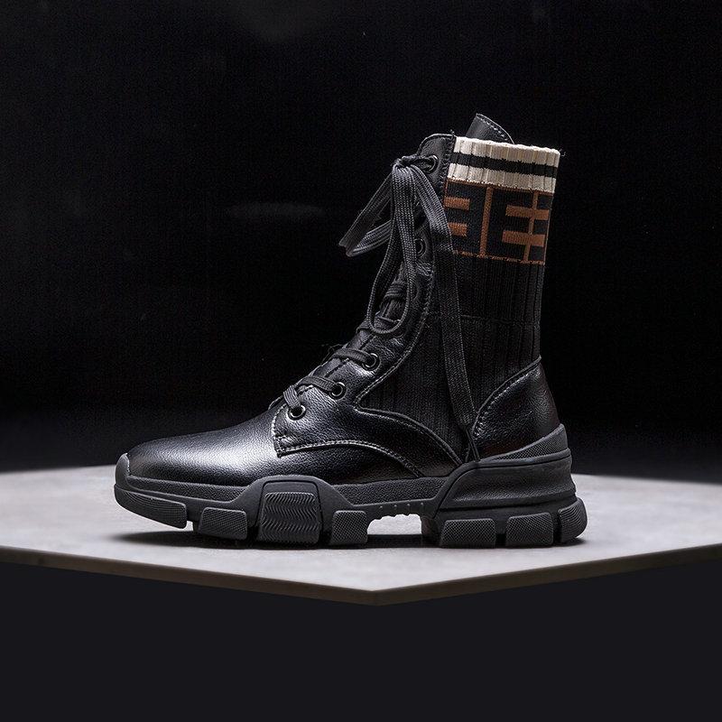 11 Salu Genuino Para Grande Mujer 10 De Tobillo Botas Cordones Plataforma Martin Cómodos Con negro Talla Beige 2018 Cuero Zapatos Moda 0TE1q