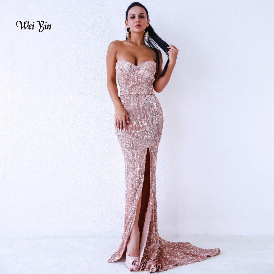 weiyin sexy seite split ausschnitt pailletten meerjungfrau abendkleid lange  backless schwarz rose gold frauen formale maxi abend party kleid